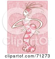 Royalty Free RF Clipart Illustration Of A Stylish Parisian Woman In A Pink Dress by Steve Klinkel