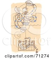 Royalty Free RF Clipart Illustration Of A Crab Monster Pulling Up A Man In A Crab Cage