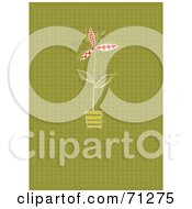 Royalty Free RF Clipart Illustration Of A Green Halftone Patterned Background With A Potted Plant by Steve Klinkel