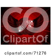 Royalty Free RF Clipart Illustration Of A Dark Red Disco Ball With Wings On A Bursting Background by elaineitalia