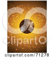 Royalty Free RF Clipart Illustration Of A Golden Burst Background With A Shiny Disco Ball