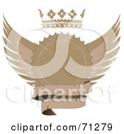 Royalty Free RF Clipart Illustration Of A Distressed Beige Label Seal With Wings A Crown And Blank Banner by elaineitalia