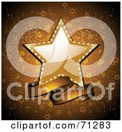 Royalty Free RF Clipart Illustration Of A Shiny Star And Banner Over A Gold Starry Burst Background
