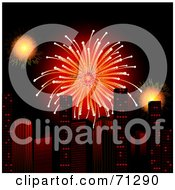 Royalty Free RF Clipart Illustration Of A Bright Red Firework Bursting Over Urban Skyscrapers by elaineitalia