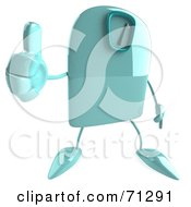 3d Green Foot Scale Character Holding A Thumb Up