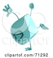 Royalty Free RF Clipart Illustration Of A 3d Green Foot Scale Character Doing A Hand Stand
