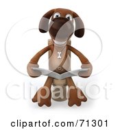 3d Brown Pooch Character Reading On A Toilet - Pose 1