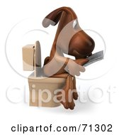 3d Brown Pooch Character Reading On A Toilet - Pose 2