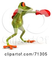 3d Green Poison Dart Frog Wearing Boxing Gloves - Pose 2