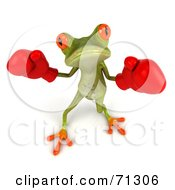 3d Green Poison Dart Frog Wearing Boxing Gloves Pose 1 by Julos