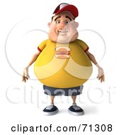 Royalty Free RF Clipart Illustration Of A 3d Chubby Burger Man Standing And Facing Front