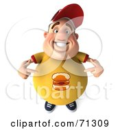 Royalty Free RF Clipart Illustration Of A 3d Chubby Burger Man Pointing At His Shirt by Julos