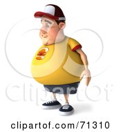 Royalty Free RF Clipart Illustration Of A 3d Chubby Burger Man Standing And Facing Left by Julos