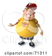 3d Chubby Burger Man Gesturing With One Hand
