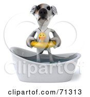 Royalty Free RF Clipart Illustration Of A 3d Jack Russell Terrier Pooch Character Bathing Pose 1
