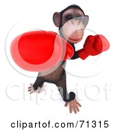 Royalty Free RF Clipart Illustration Of A 3d Chimp Character Boxing Pose 3 by Julos