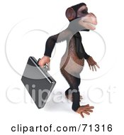 Royalty Free RF Clipart Illustration Of A 3d Chimp Character With A Business Briefcase Pose 2