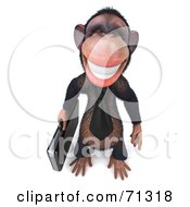 Royalty Free RF Clipart Illustration Of A 3d Chimp Character With A Business Briefcase Pose 1 by Julos