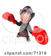 Royalty Free RF Clipart Illustration Of A 3d Chimp Character Boxing Pose 1