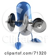 Royalty Free RF Clipart Illustration Of A 3d Blue Pill Character Lifting Weights