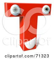Royalty Free RF Clipart Illustration Of A 3d Red Character Letter T by Julos