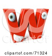 3d Red Character Letter W