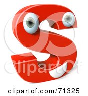 3d Red Character Letter S