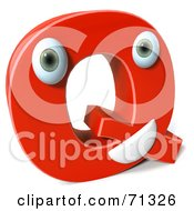 3d Red Character Letter Q