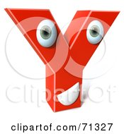 3d Red Character Letter Y