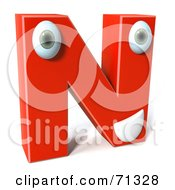 3d Red Character Letter N