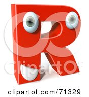 Royalty Free RF Clipart Illustration Of A 3d Red Character Letter R by Julos