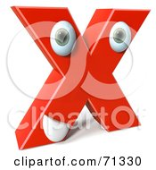 Royalty Free RF Clipart Illustration Of A 3d Red Character Letter X by Julos