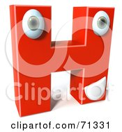 3d Red Character Letter H