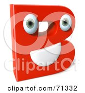 3d Red Character Letter B