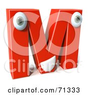 3d Red Character Letter M