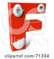 Royalty Free RF Clipart Illustration Of A 3d Red Character Letter F by Julos