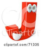 Royalty Free RF Clipart Illustration Of A 3d Red Character Letter J by Julos