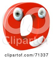 3d Red Character Letter O