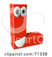 Royalty Free RF Clipart Illustration Of A 3d Red Character Letter L by Julos