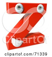 Royalty Free RF Clipart Illustration Of A 3d Red Character Letter Z by Julos