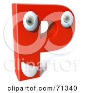 3d Red Character Letter P