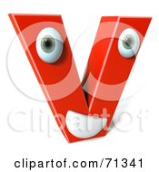 Royalty Free RF Clipart Illustration Of A 3d Red Character Letter V by Julos