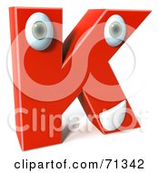 Royalty Free RF Clipart Illustration Of A 3d Red Character Letter K by Julos