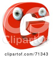 3d Red Character Letter G