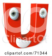 3d Red Character Letter U