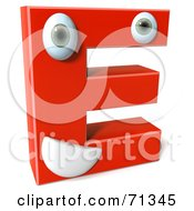 3d Red Character Letter E
