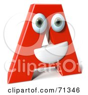 Royalty Free RF Clipart Illustration Of A 3d Red Character Letter A by Julos