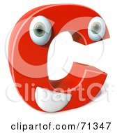 Royalty Free RF Clipart Illustration Of A 3d Red Character Letter C by Julos