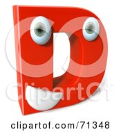 3d Red Character Letter D