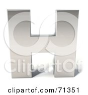 Royalty Free RF Clipart Illustration Of A 3d Chrome Capital Letter H